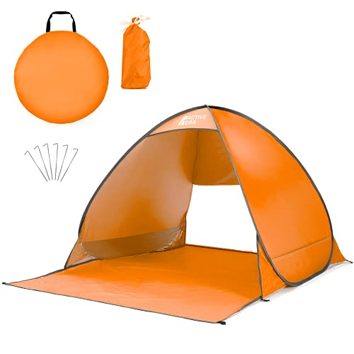 Active Era Pop Up Beach Tent – UPF 50+ UV Sun Protection Beach Shade Beach Tent Pop Up for Kids & Adults - 2 Person Sun Shelter with Carry Bag and Tent Stakes for Beach, Park, Camping - Orange