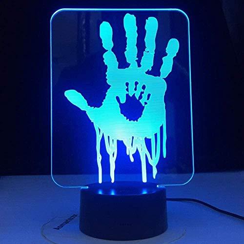 Bluetooth Night Lights3D Illusion Lamp Led Night Light Death Stranding Hand Prints Videojuego para niños Decoración de habitaciones Regalo genial para niños Gamer Escritorio USB
