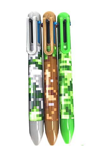 3 Stück Camouflage Kugelschreiber - 6 Tintenfarben pro Stift schreiben ┃ Kindergeburtstag ┃Pixel/Camouflage