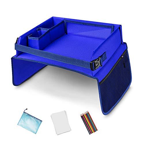 Monstafix® Kinder Reisetisch Auto – Doppelseitiges Knietablett – fixierbarer Autotisch, Spieltisch oder Esstisch – Inklusive Papier und Buntstiften – 100% Komfort (Blau)