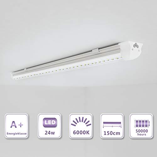 OUBO 150cm LED Leuchtstoffröhre komplett Set mit Fassung kaltweiss 6000K 24W 2850lm Lichtleiste T8 Tube mit klarer Deck