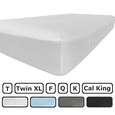 King Size Fitted Sheet Only - 300 Thread Count 100% Egyptian Cotton - Pieces Sold Separately for Set - 100% Satisfaction Guarantee (White)