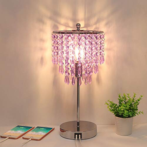USB Bedside Crystal Lamp, 3-Way Dimmable Touch Nightstand Lamp with Dual USB Charging Ports, Lavender Table Lamp Decorative Accent Lamp Silver for Bedroom, Living Room, Office, B11 LED Bulb Included
