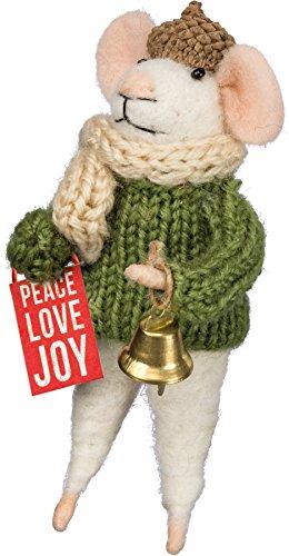 Mouse - Box Sign Peace Love Joy Ornament Shelf Decor 4.75' Primitives by Kathy