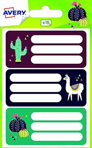 Avery – Bolsa de 15 etiquetas escolares fantasía diseño de lama y cactus, formato 76 x 34 mm
