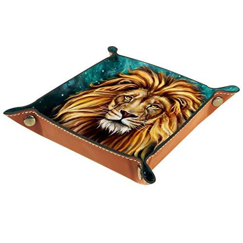 ATOMO Leather Storage Tray King Lion deposit photos Original Key Jewelry Coin Catchall Sundries Organizer Bedside Tiny Tray Key Phone Jewelry Storage