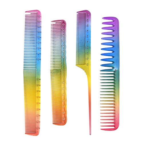 Faletony 4 Stück Regenbogen Kamm Antistatischer Styling Haarkamm Professionelle Friseur Haarstyling Kamm für Salon Friseursalon
