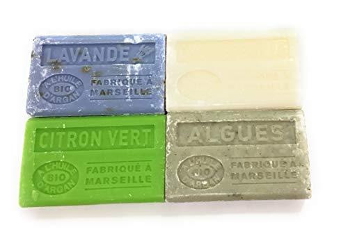 Label Provence - lot de 4 savons de Marseille Bio - à l'huile d'argan- fabriqués à Marseille -senteur : Lavande - Citron vert- Algues- Chevrefeuille- 4 x100g
