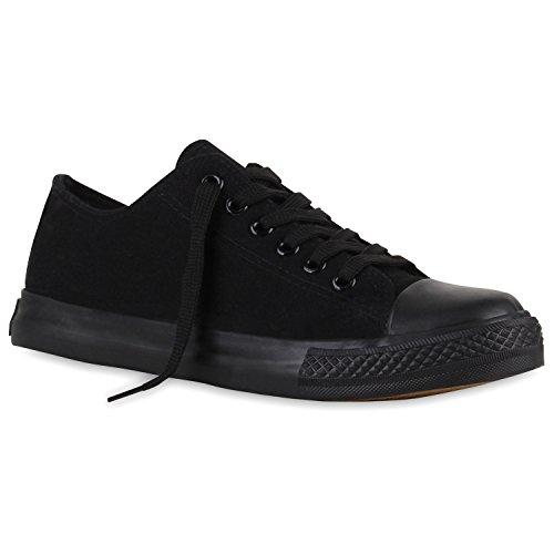 stiefelparadies Flache Damen Sneakers Low Stoffschuhe Schnürer Viele Farben 110929 Schwarz Schwarz Arriate 42 Flandell