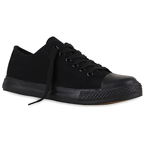 stiefelparadies Flache Damen Sneakers Low Stoffschuhe Schnürer Viele Farben 110929 Schwarz Schwarz Arriate 38 Flandell