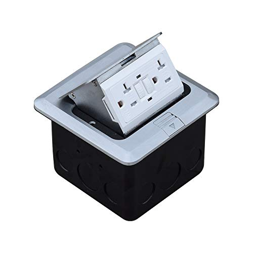 JACEPFY Pop Up Floor Outlet with 20Amp GFCI Receptacle-type ground-fault circuit-interrupter Stainless Steel Sockets