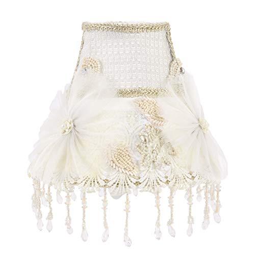 Hollandse Stijl Ronde clip op lampenkap versierd met bloemen en hand kralen ornamenten met gouden versieringen en hand kralen franjes