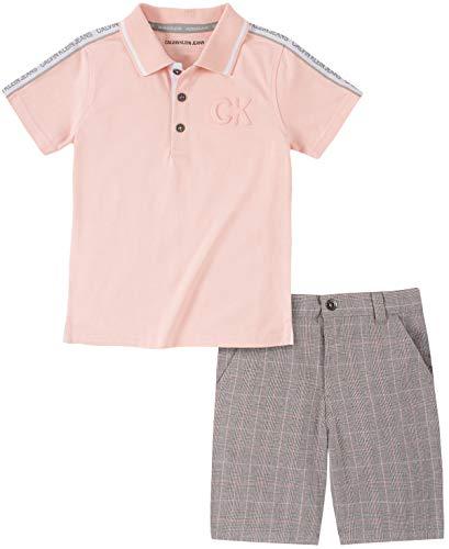 Calvin Klein Boys' 2 Pieces Polo Shorts Set, Peach/Plaid, 3T