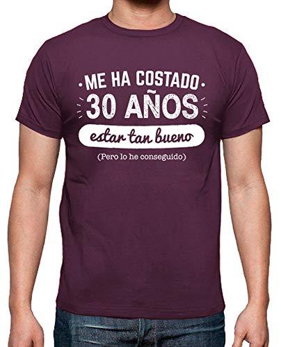 latostadora - Camiseta 30 Anos para para Hombre Burdeos L
