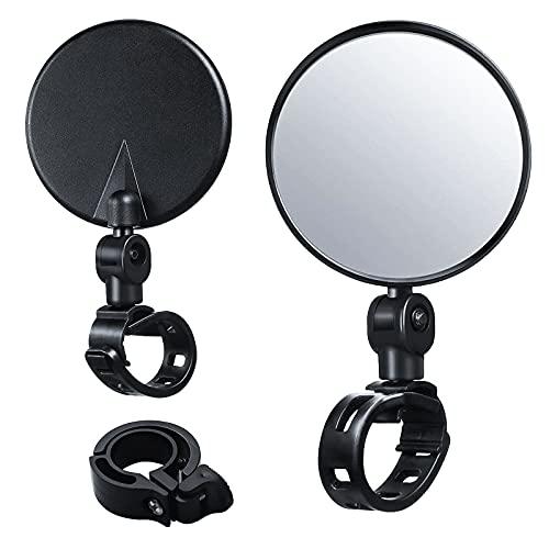 GZLCEU 2 Stück Radfahren Rückspiegel, Einstellbare Mini Fahrradspiegel 360°Drehbar Rotation mit 1 Glocken für Radfahren Fahrrad Mountainbike Lenker