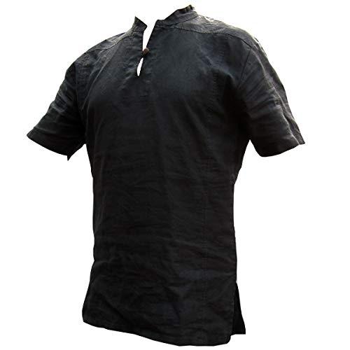 PANASIAM Fisherman Shirt, 100% Hemp, Black, XL, SS