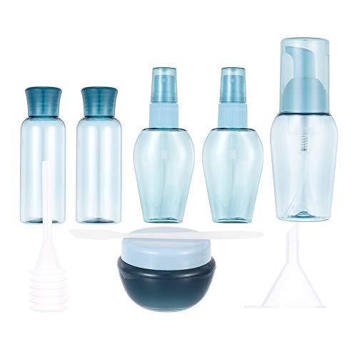 Girls'love talk 9 Stück Reise Flaschen Set, Reiseflaschen, Leer Reiseflasche Nachfüllbare Transparentes Kosmetik Container für Flugreisen, Camping, Geschäftsreise, Shampoo, Lotion(Blau)