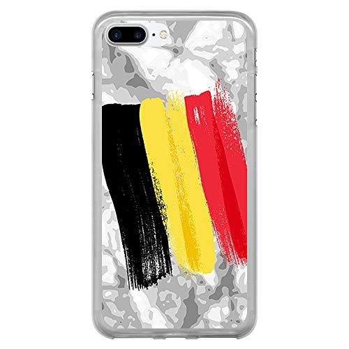 BJJ SHOP Custodia Trasparente per [ iPhone 7 Plus/iPhone 8 Plus ], Cover in Silicone Flessibile TPU, Design: Bandiera Belga, Pennello su Sfondo Astratto