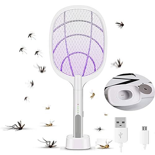 FZYE Eléctrico Bug Zapper, Mosquito Killer Mosquitoes Trap Lámpara y Raqueta 2 en 1, USB Recargable Matamoscas Eléctrico con Luz Ultravioleta LED, 3000 V de Voltaje, Malla de Seguridad de 3 Capas