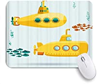 ZOMOY マウスパッド 個性的 おしゃれ 柔軟 かわいい ゴム製裏面 ゲーミングマウスパッド PC ノートパソコン オフィス用 デスクマット 滑り止め 耐久性が良い おもしろいパターン (魚フラットなデザインの海底の子供たちの黄色い潜水艦)