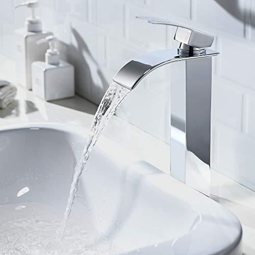 CECIPA Wasserhahn Bad Wasserfall,Waschtischarmatur für Badzimmer Waschamatur Waschbecken Armatur Bad,Messing Verchromt-Hoch