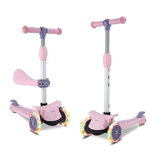 Wheelive 3-in-1 Kick Scooter mit abnehmbarem Sitz, 4 höhenverstellbaren und faltbaren Design Kleinkind-Scootern Sitzen oder Stehen mit 3 LED-Rädern für Jungen und Mädchen im Alter von 2 bis 6 Jahren
