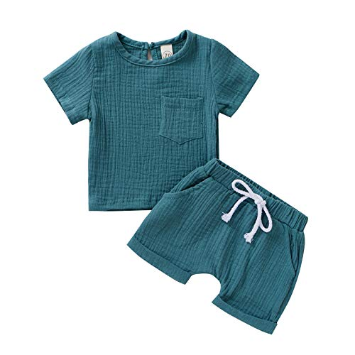 L&ieserram Ropa de color liso, 2 piezas de camisa de manga corta + pantalones cortos para casa o pijama para bebé, niño, niña, primavera, verano, otoño turquesa 2-3 años