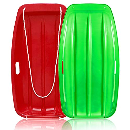 """Soosi Plastic Snow Sleds for Kids,35""""Snow Sled Toboggan Sled Sleds for Toddlers Kids Sleds for Snow with 2 Handles and Pull Ropes for Outdoor Winter Slider Downhill Snow Board Green Red"""