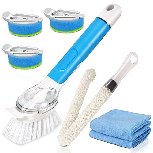 Masthome Washing Up Brushes with Soap Dispenser,3pcs Kitchen Sponge Head Refills, Dish Cleaning Brush with 45.5cm Long Handle for Pot Pan Sink Cleaning-Send 2pcs Cleaning Cloths