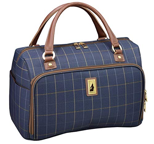 LONDON FOG Kensington Ii 17-Inch Cabin Bag, Navy Window Pane