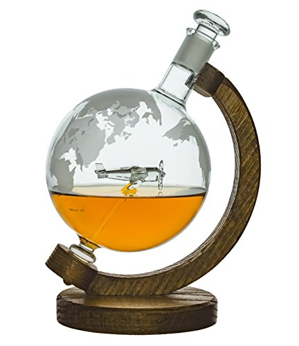 Globe Whiskey Decanter - Pilot Gifts for Men & Women Who Love Bourbon, Wine & Liquor Decanter -1000ml- Airplane Flight Attendant Gift (P51 Mustang) Bar Decor Air Force Gifts & Aviation Gifts