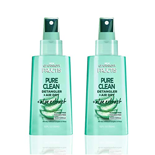 Garnier Hair Care Fructis Pure Clean Detangler + Air Dry, No Tangles or Frizz, Silicone Free and Paraben Freem Made With Aloe Extract and Vitamin E, 5 Fl Oz, 2 Count