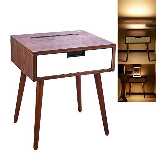 Frylr Nachttisch Nachtschrank mit Schublade und Infrarot Sensor Licht 50 x 40 x 35 cm Holz Nachtkommode Nachtkonsole, Nussbaum und Weiß Rechte Seite