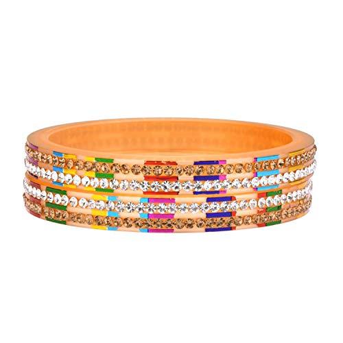Efulgenz Fashion Schmuck indisches Bollywood Kristall Strass Acryl Harz Hochzeit Braut Armband Armreif Set 4 Stück