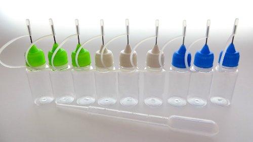 3 Stück Nadelflaschen leer - Needlecap - mit grüner Spitze + Pipette - zum befüllen oder mischen von E-Liquid von vapoo
