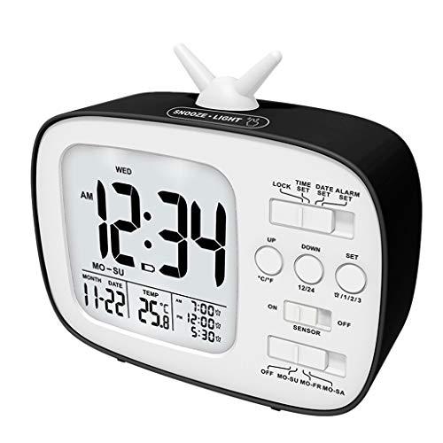 ZLBYB Reloj Digital Retro TV Forma Despertador Reloj niños Estudiante Noche de Alarma Reloj de Alarma Digital Reloj Despertador