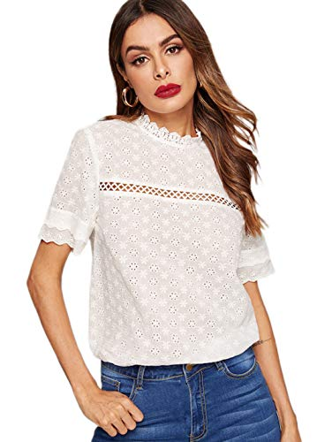 Romwe Women's Short Sleeve Stand Collar Embroidery Button Slim Cotton Blouse Top White S