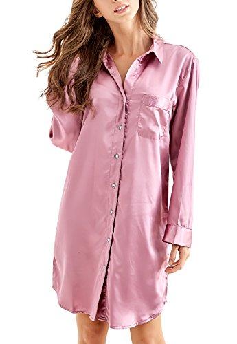 Nachthemd Damen, Satin Nachtkleid Langarm Nachtwäsche mit Knopfleiste Schlafhemd Freizeitkleidung (Dunkelrosa, M)