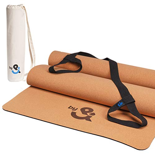 DROPby& Kork Yogamatte, Sportmatte, Fitnessmatte rutschfest für Yoga, Fitness, Pilates & Gymnastik aus Kork und Kautschuk mit Tragegurt und Tasche - 183cm Länge x 66cm Breite x 4mm Dicke