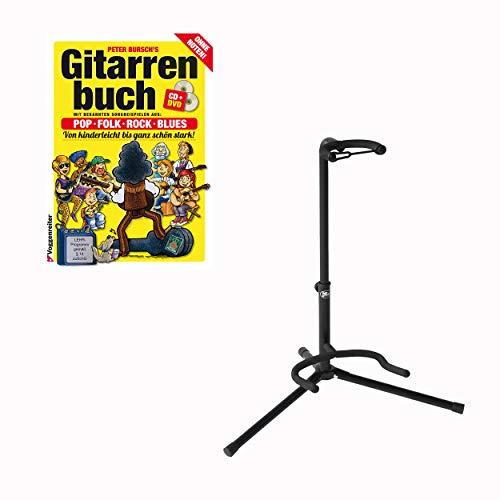 Voggenreiter Gitarren Set, 4-tlg., Peter Burschs Gitarrenbuch, Gitarrenständer GS-100, Gitarren Buch