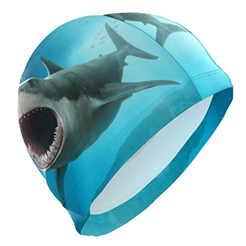 rouxf Badekappe, Ozean, Fische, Hai, Badekappe für Männer, Jungen, Erwachsene, Teenager, Badekappe, rutschfest