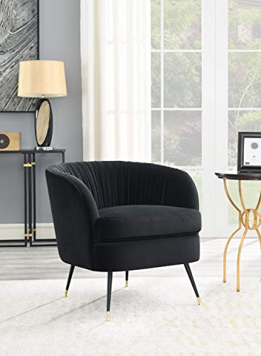 """Comfortland 22"""" Upholstered Pleated Arm Chair Barrel Chair Mid-Century Modern, Accent Chair for Living Room Bedroom/Iron Leg(Black)"""