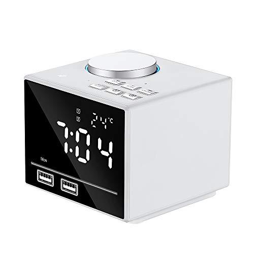 ZSTY alarminstallatie, draadloze bluetooth-luidspreker, digitale wekker, USB-oplader, met FM-radio, oplaadpoort, sluimerfunctie, batterijwissel, wit