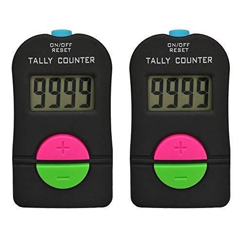 IWILCS Contador de Mano Digital, Contador Digital Deportivo de Golf de 2 Piezas, Clicker Manual de sustracción electrónica, Contador Deportivo Digital de Golf pequeño, con cordón, 0-9999