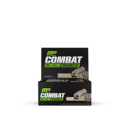 Muscle Pharm MusclePharm Combat Crunch Protein Bar, Multi-Layered Baked Bar, Gluten-Free Bars, 20 g Protein, Low-Sugar, Low-Carb, Gluten-Free, Double Stuffed Cookie Dough, 12 Servings