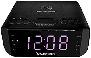 Sunstech FRD50BTWC Radio Alarm Clock with Wireless Charging 5W, Black