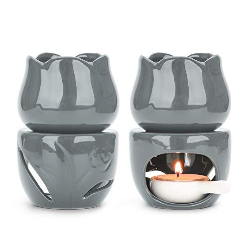 ComSaf Keramik Duftlampe Teelicht mit Kerzenhalter 2er Set, Abnehmbar Wachs Aromalampe Duftöl Kerzenhalter Aromabrenner für Duftöl und Duftwachs (Grau)