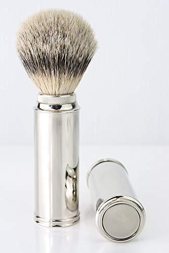 Los hombres de afeitado plata punta badgher–Brocha de afeitar de viaje de pelo en níquel chapado en mango