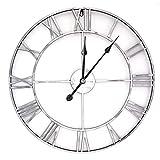 BLKJ Reloj de pared grande vintage de metal, tamaño XXL, sin tic tac, 60 cm, números romanos, decoración para loft, dormitorio, salón, cocina, 47 cm, color plateado