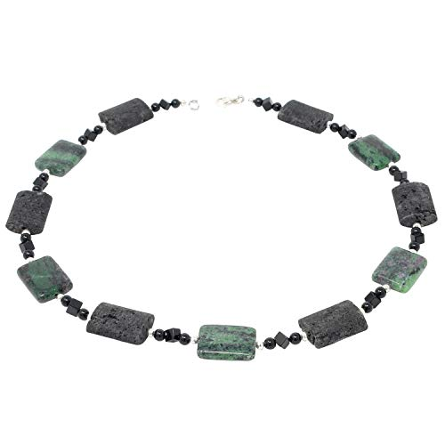 Kette Collier aus Rubin-Zoisit & Lava & Onyx schwarz-grün 925 Silber Halskette Edelsteinkette